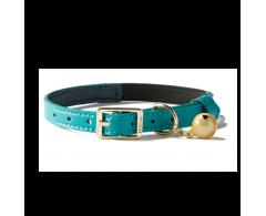Collier anti-étrangelement Chat Simili cuir bleu clair et bleu foncé